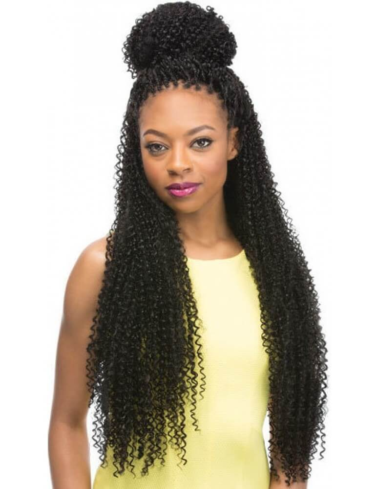 Crochet Braids with High Bun