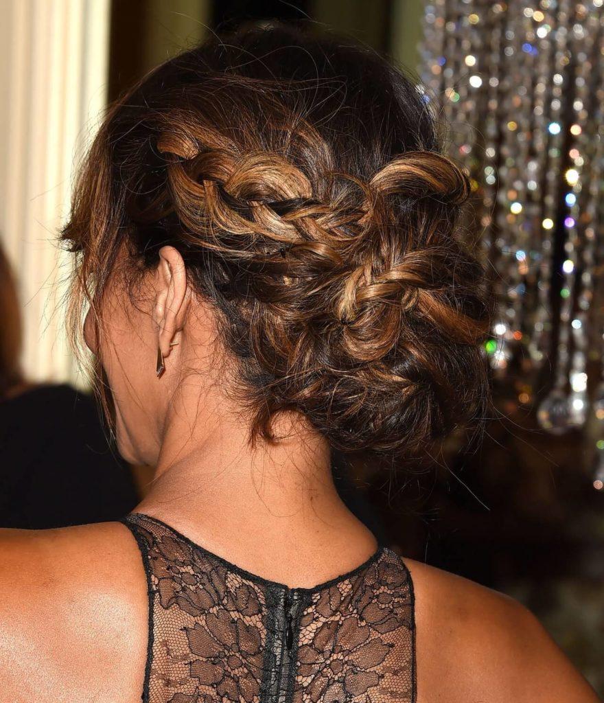 Sleek back plaited hairstyle
