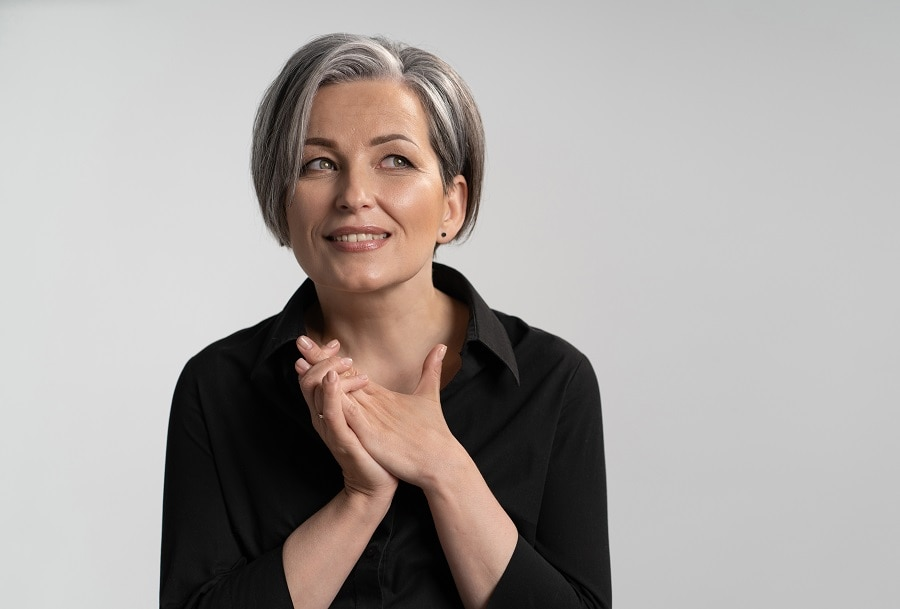 silver bob hairstyle for women over 50