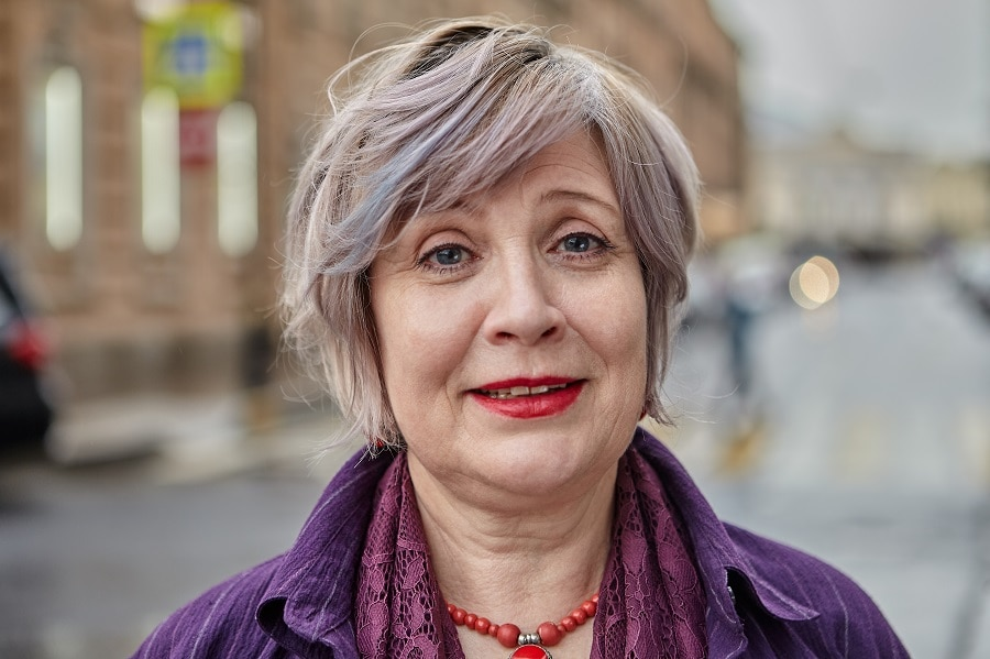 messy silver grey bob for women over 50