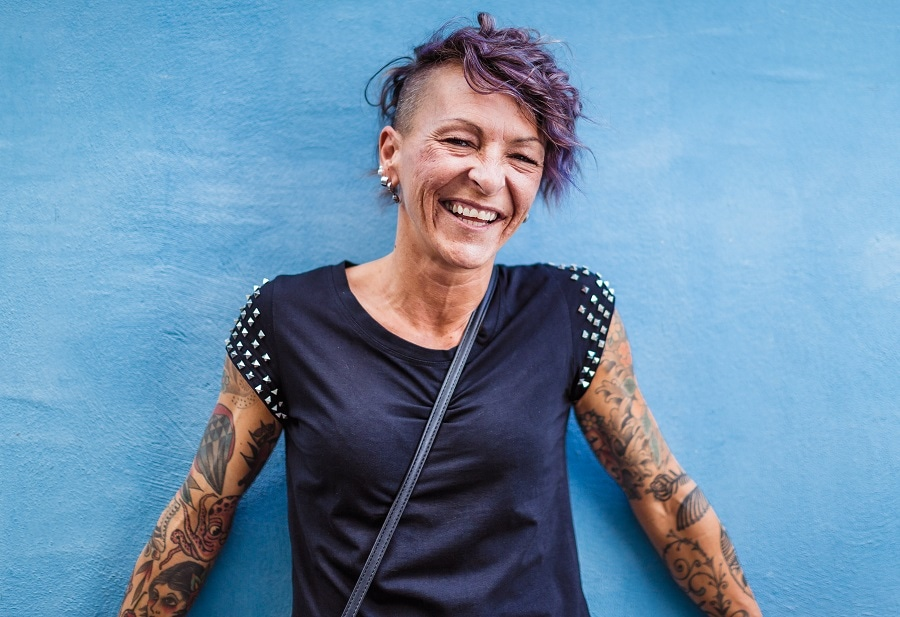 edgy hairstyle with undercut for older woman