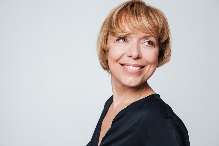 short bob with highlights for women over 50