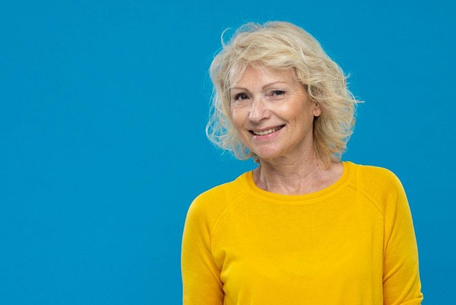 low maintenance blonde bob for women over 50