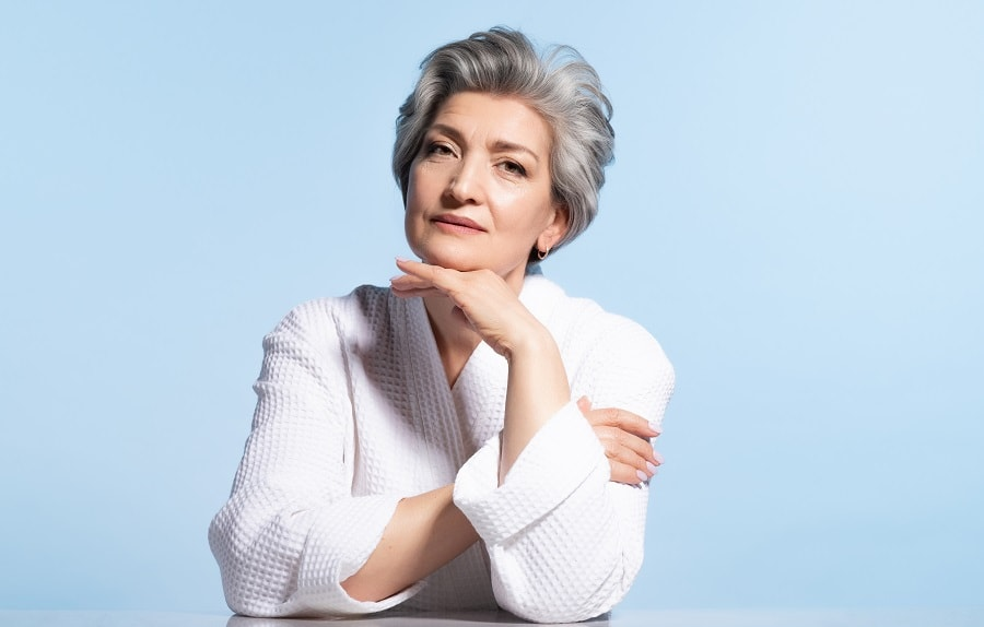 short silver hairstyle for women over 50
