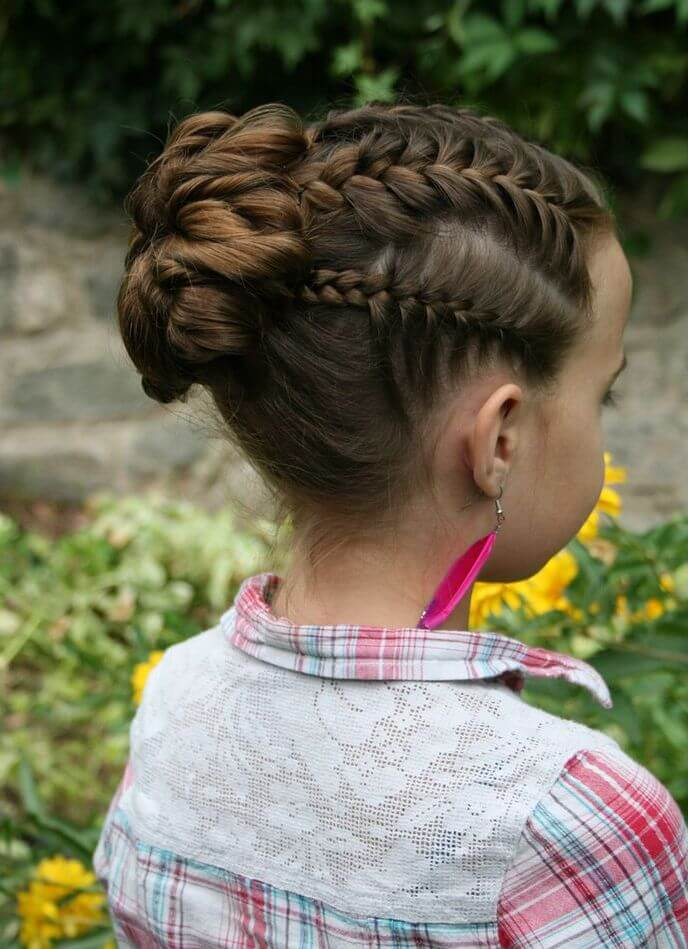 Braids with bun for Kids