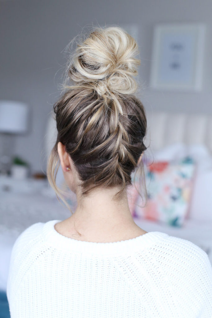 French Braid with Top Knot