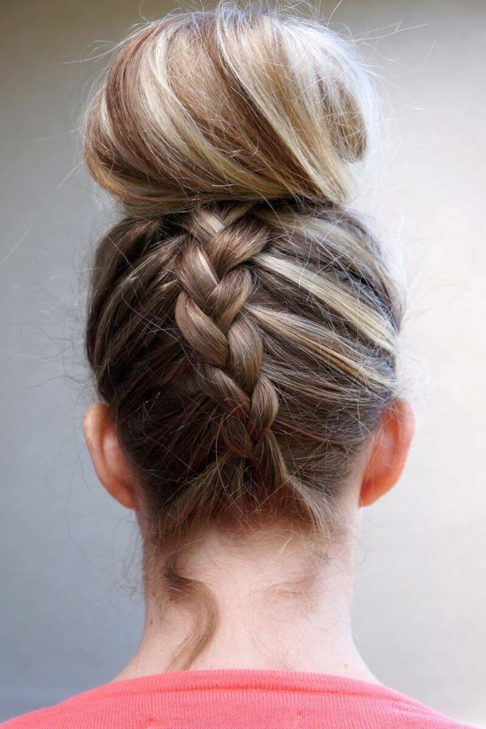 French Braid with Loose Bun