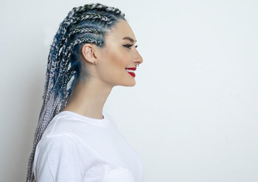 cornrow braids with grey highlights