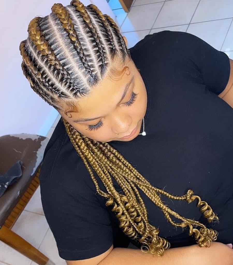 brown cornrow braids