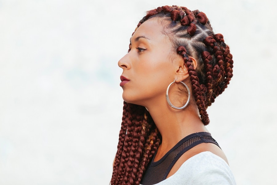thick copper brown individual braids