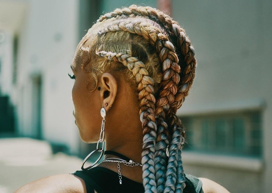 thick blonde individual braids