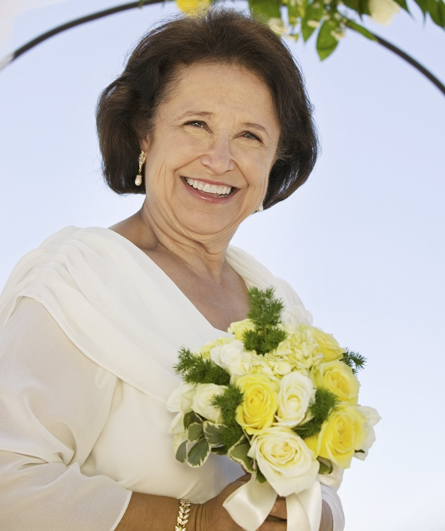 older woman with wedding hairstyle