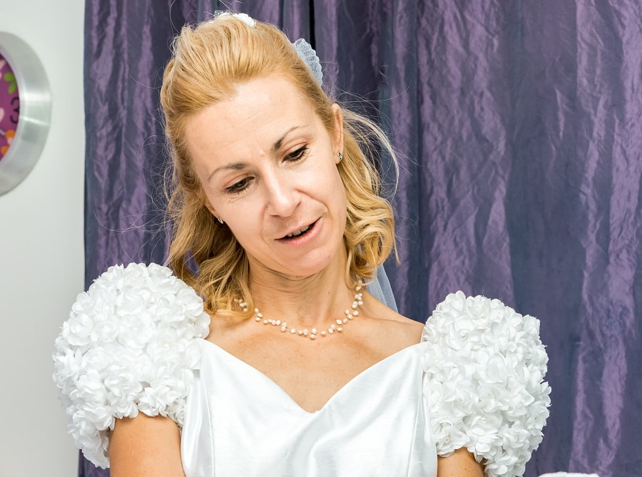woman over 50 with wedding hairstyle