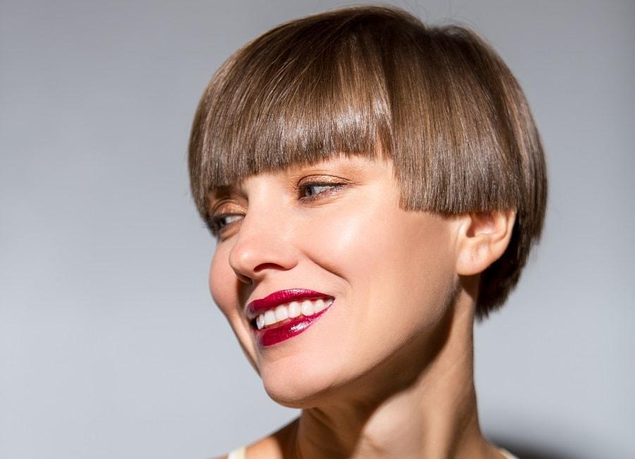 bowl haircut with bangs