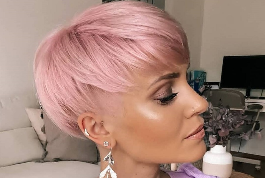pastel pink bowl haircut