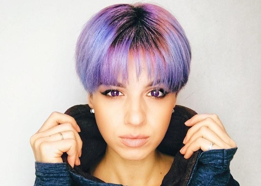 bowl haircut with lavender hair