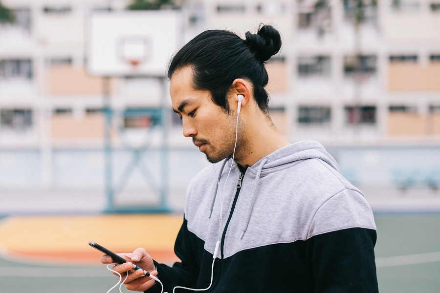 Asian guy with samurai hairstyle