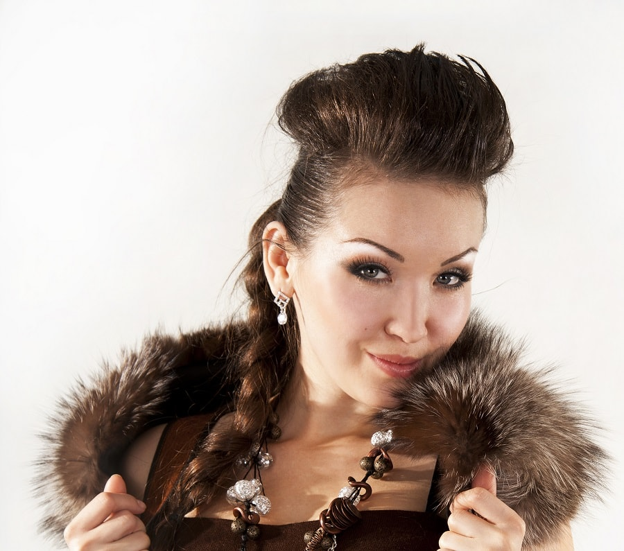 1930s puff hairstyle with long braid