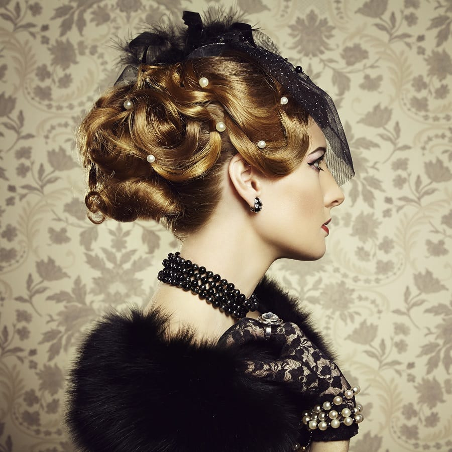 1930s updo with pin curls