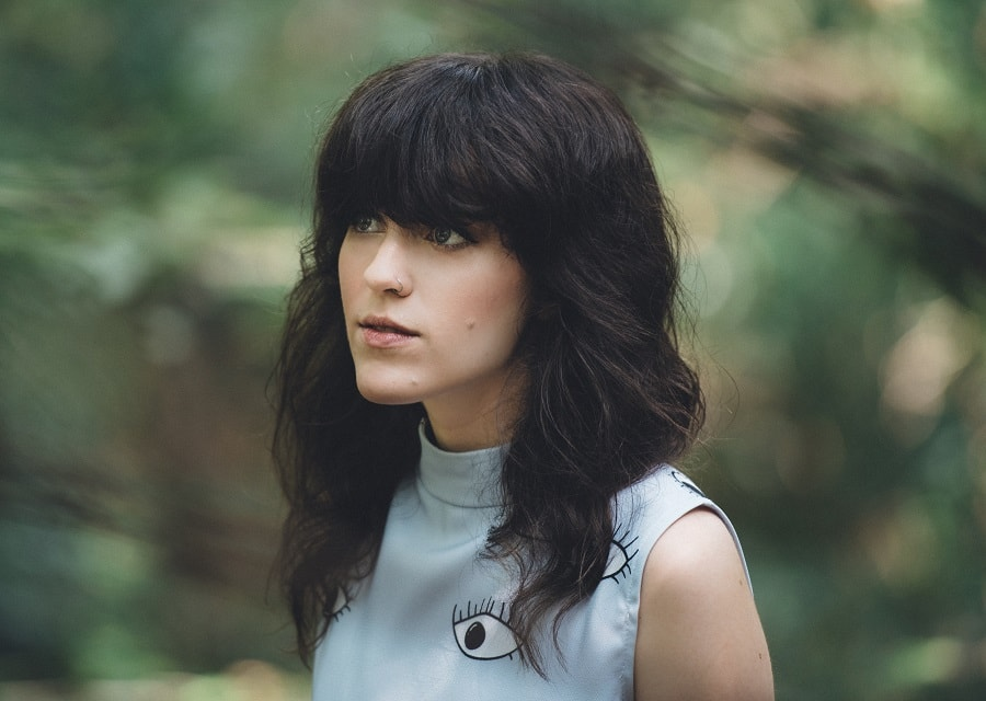 70s curly shag with bangs