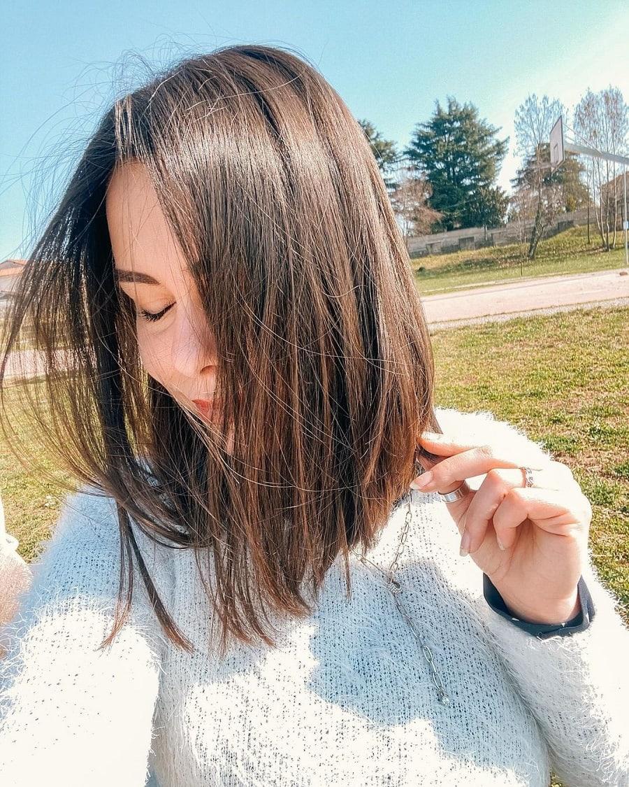 medium brunette straight hairstyle