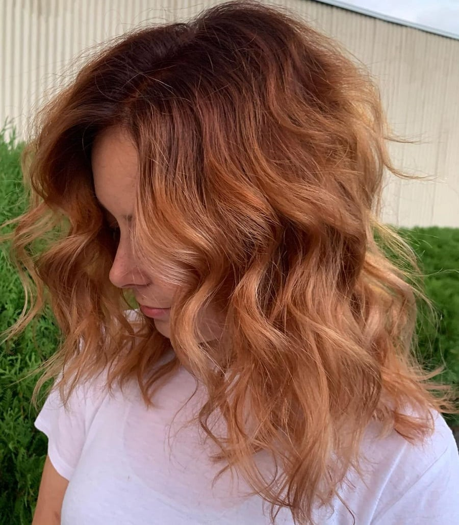 ombre with medium brunette wavy hair