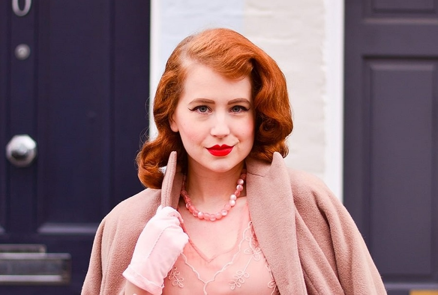 vintage hairstyle with copper hair