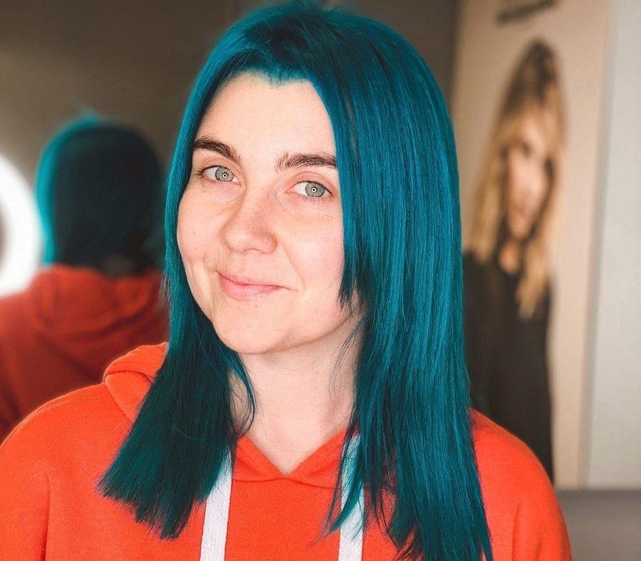 medium straight blue hair