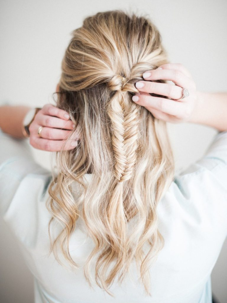How to Create Half-Up Fishtail Ponytail