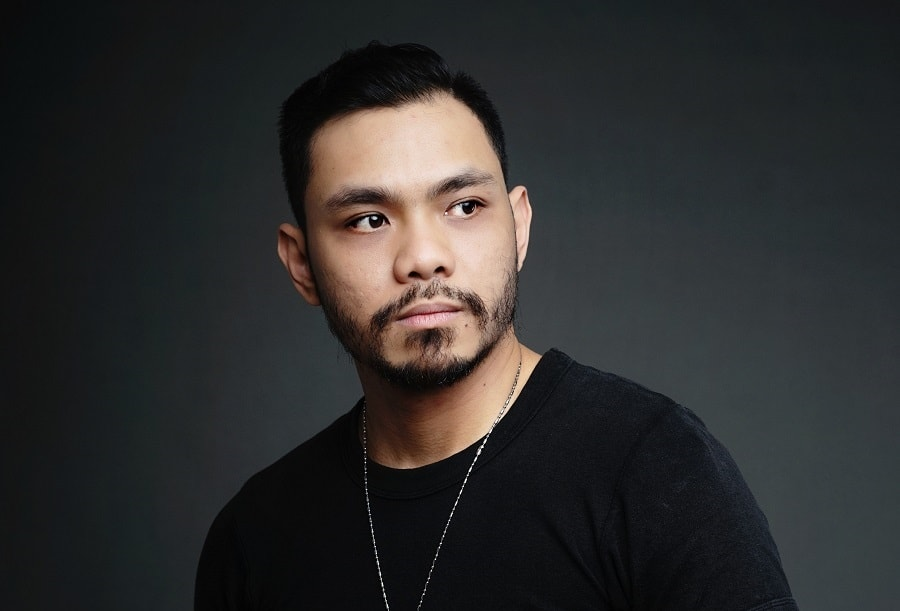 Asian guy with patchy beard
