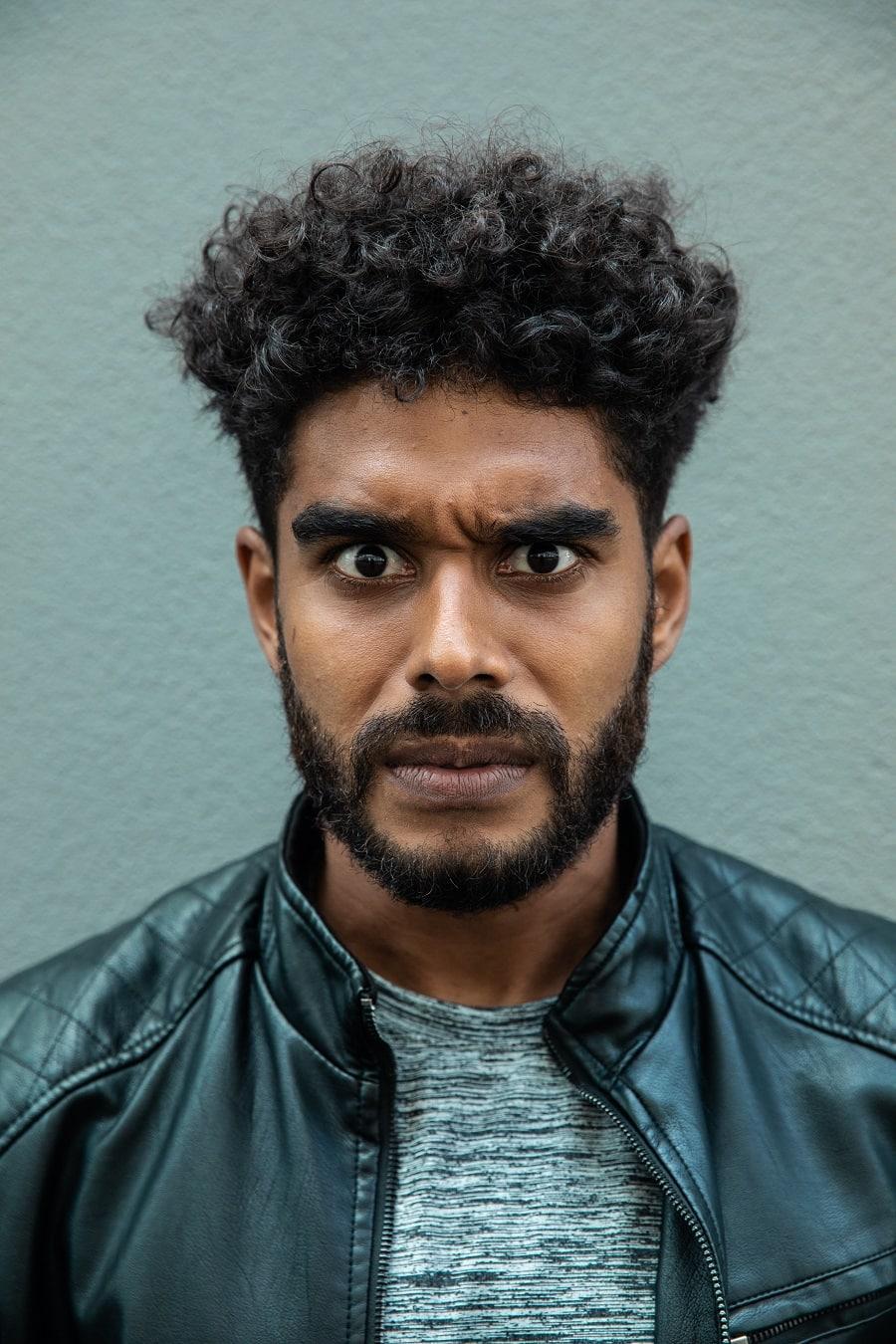 short beard with afro hair