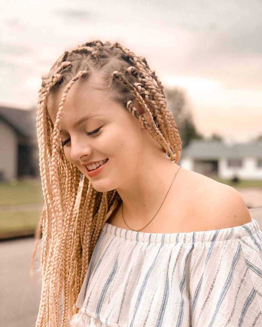 knotless box braids with long blonde hair