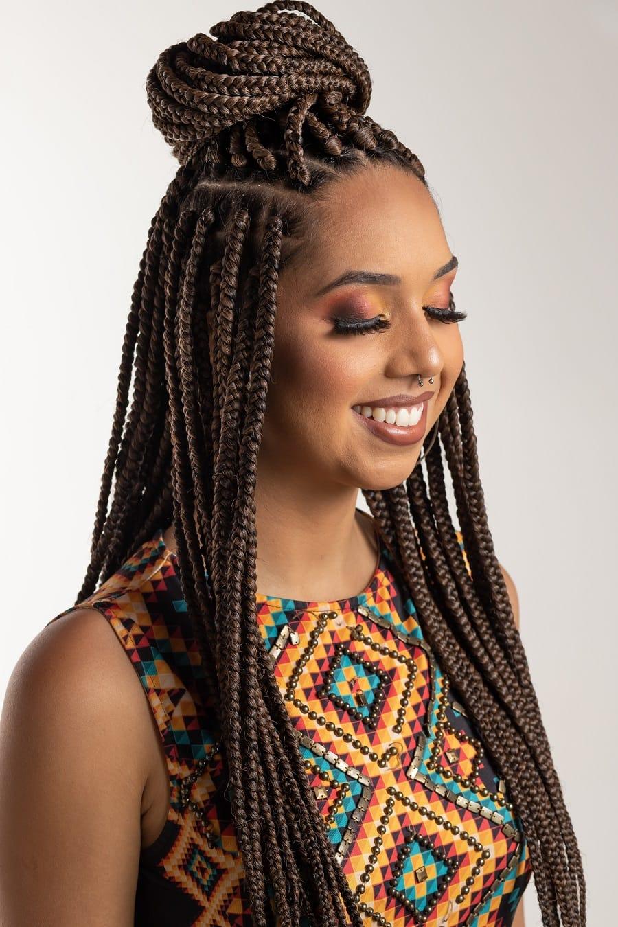 black girl with long knotless box braids