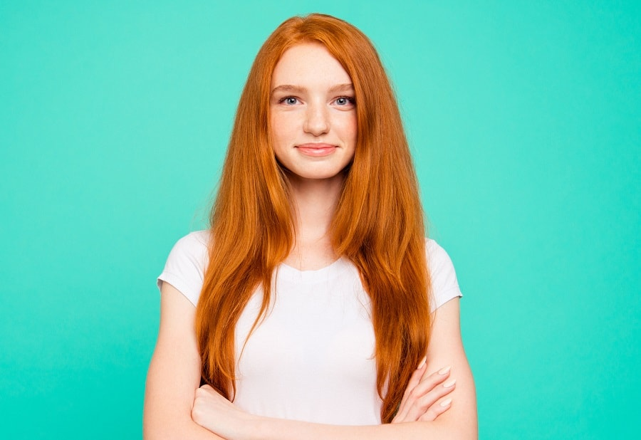 long ginger hairstyle for woman with long face