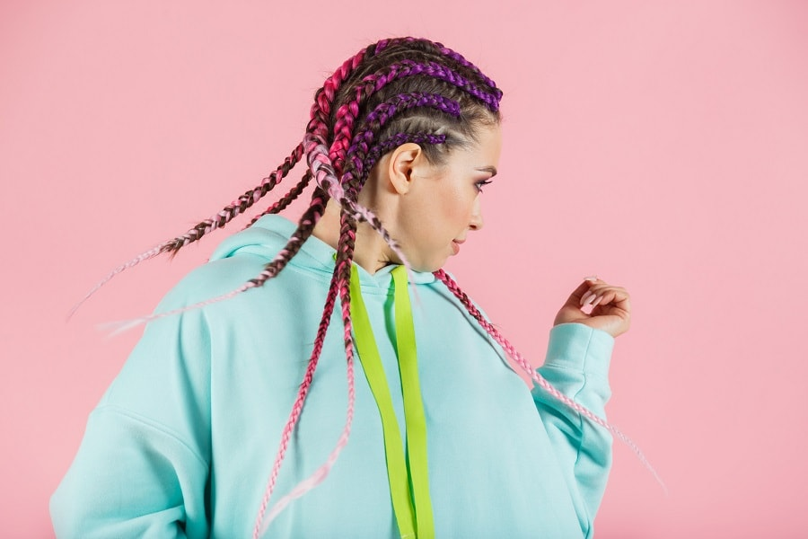 pink and purple feed in braids hairstyle