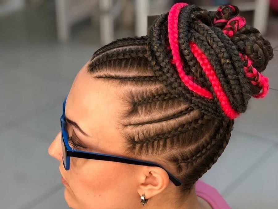 top bun with feed in braids