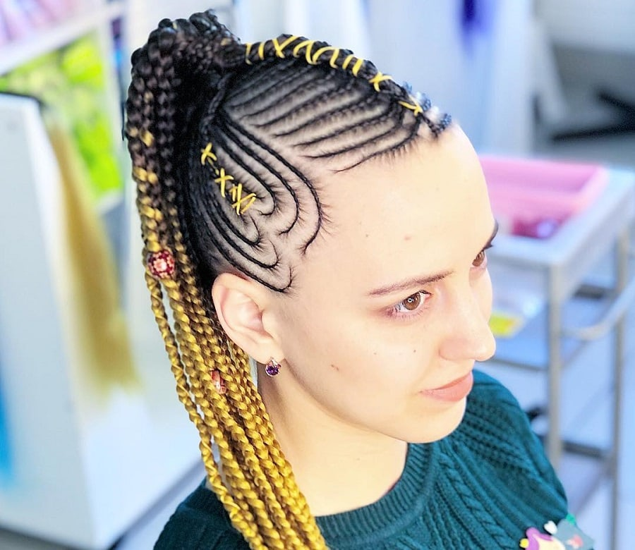 ponytail with feed in braids