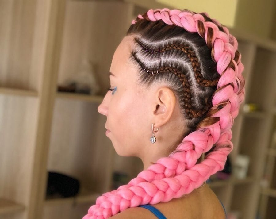 funky feed in braids hairstyle