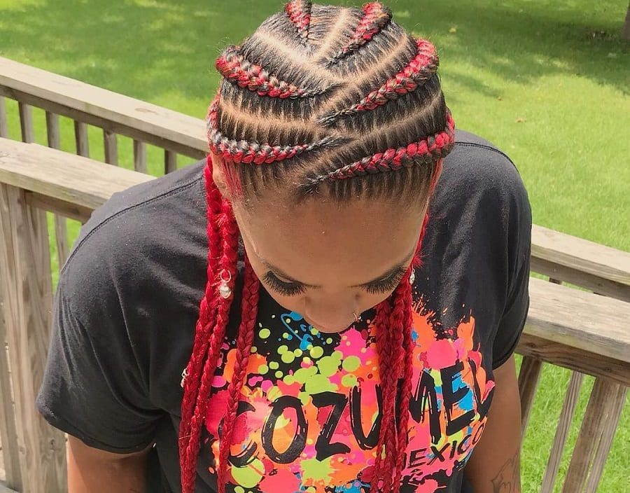 red feed in braids hairstyles