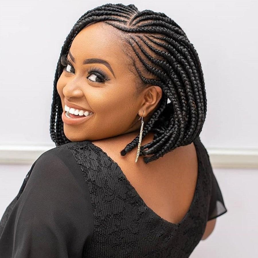 black woman with bob braid hairstyle