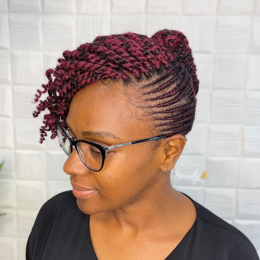 bun with kinky twist braids