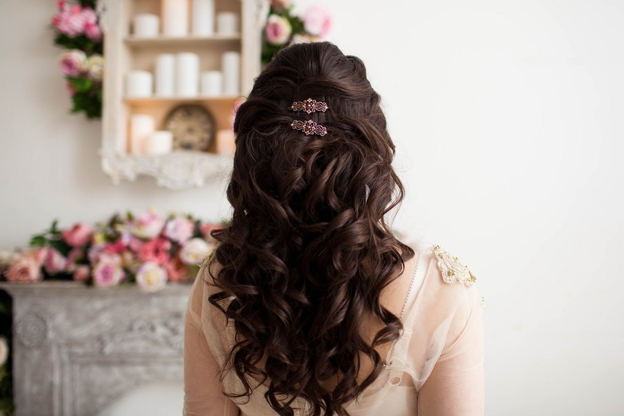 half up half down wedding curly hairstyle