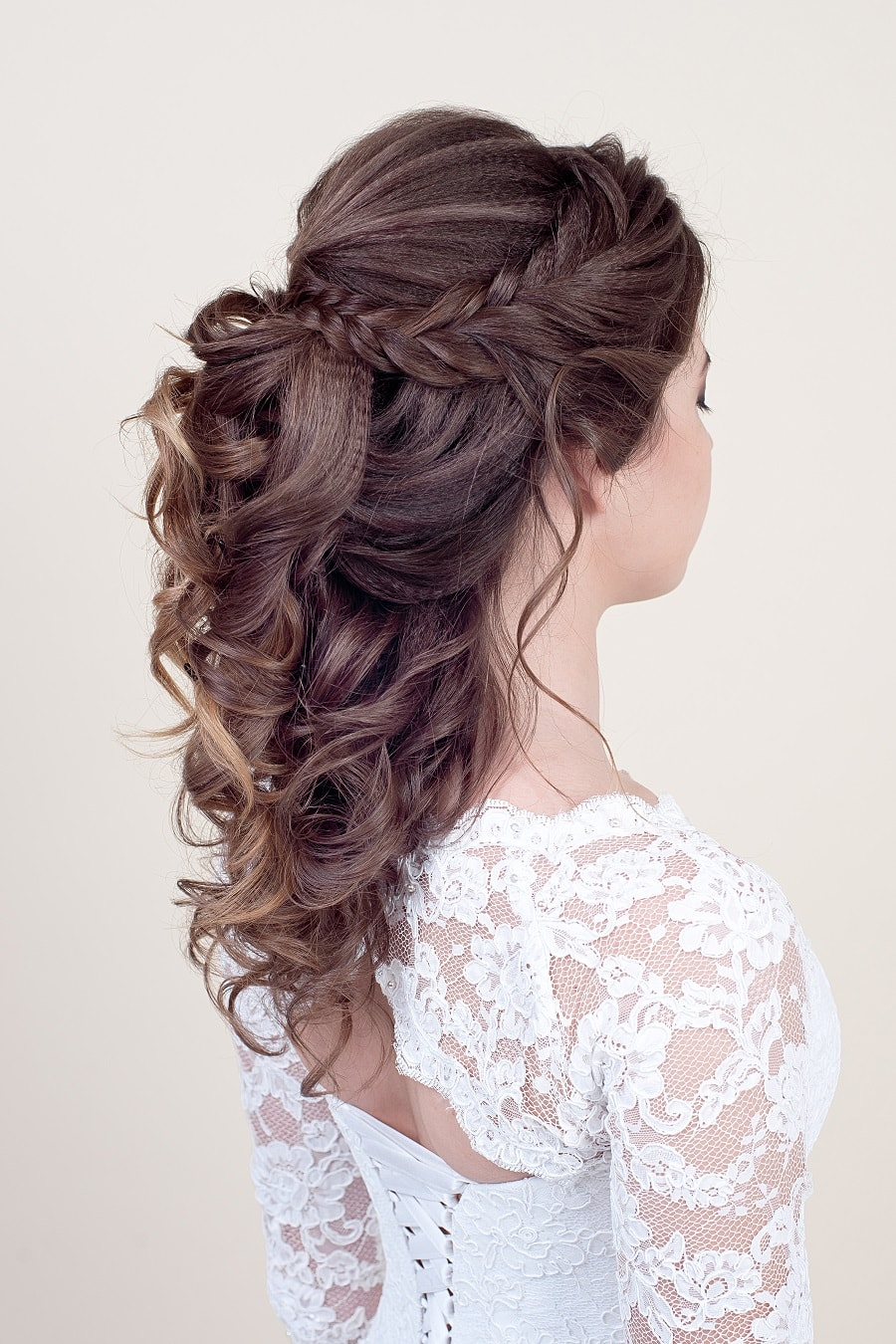 half up half down wedding hairstyle with braids
