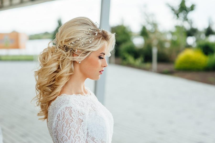 best half up half down wedding hairstyle