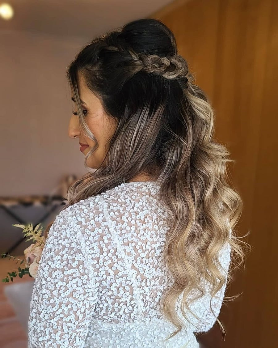 ombre hair with half up half down wedding hairstyle
