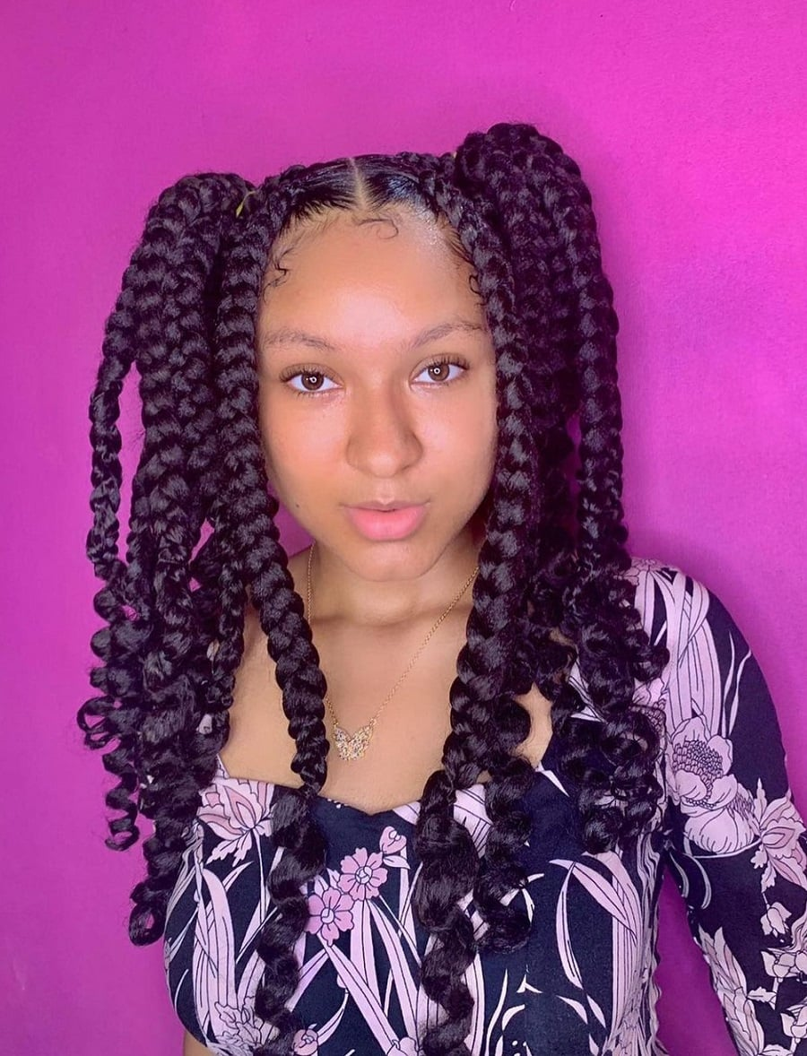 pigtails with jumbo braids