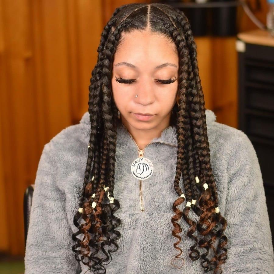 jumbo braids with beads and highlights