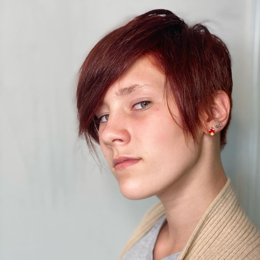 short pixie with thick brown hair