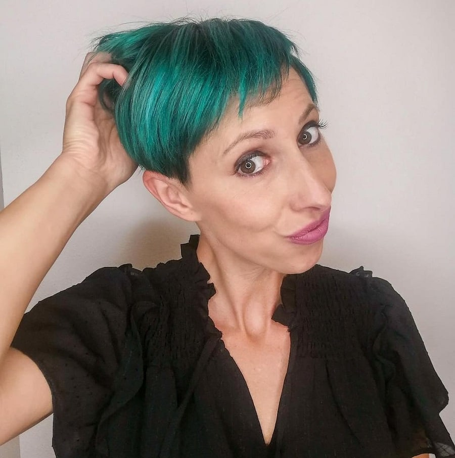 funky pixie cut with thick short hair