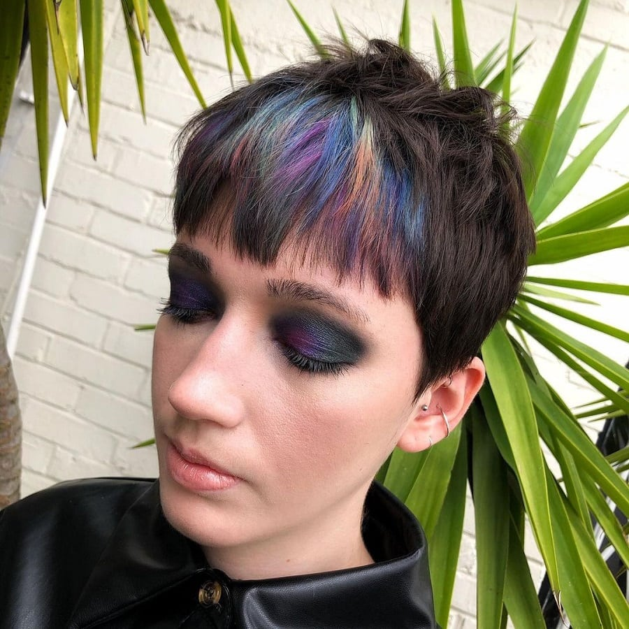 pixie with highlights for short thick hair